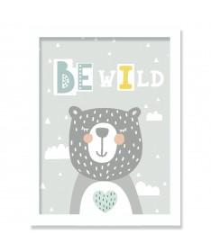 Cuadro Infantil Nórdico Oso Be Wild 20 x 30 cm