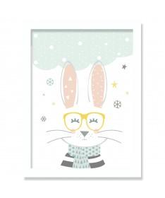 Cuadro Infantil Nórdico Conejo Anteojos 20 x 30 cm